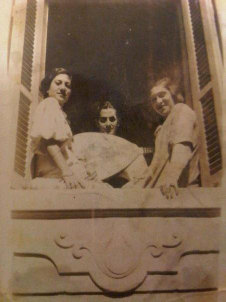 On the left: my grandmother, Becky Memran (formerly Rouvio), with Farid al-Atrash, and her sister Léonie.  Alexandria, sometime in the mid-late thirties