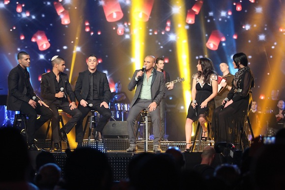 The finalists on 'Eyal Golan is Calling You' during the show's finale, March 5, 2013 (Photo: Ortal Dahan)