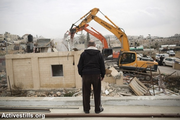 House demolition in Beit Hanina, 27.1.2014. Photo: Activestills.org