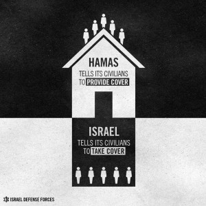 """An IDF Spokesperson infographic published on its Facebook page with the caption: """"Hamas has no regard for human life"""""""